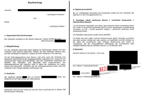 Kaufvertrag - (Recht, Fahrrad, Garantie)