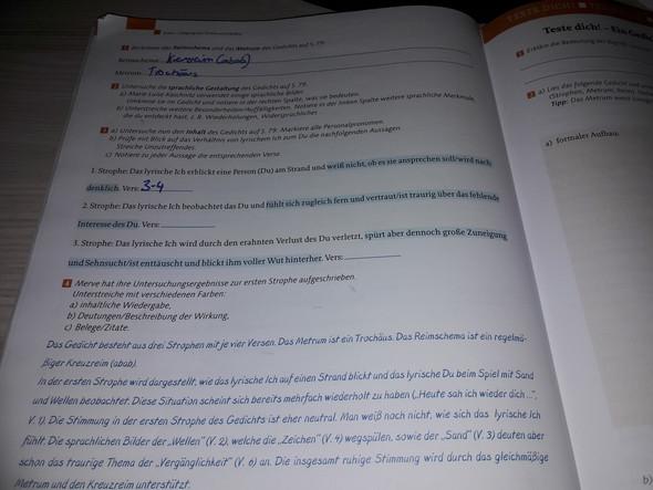Gedicht Am Strande Deutsch Hausaufgaben Arbeitsheft