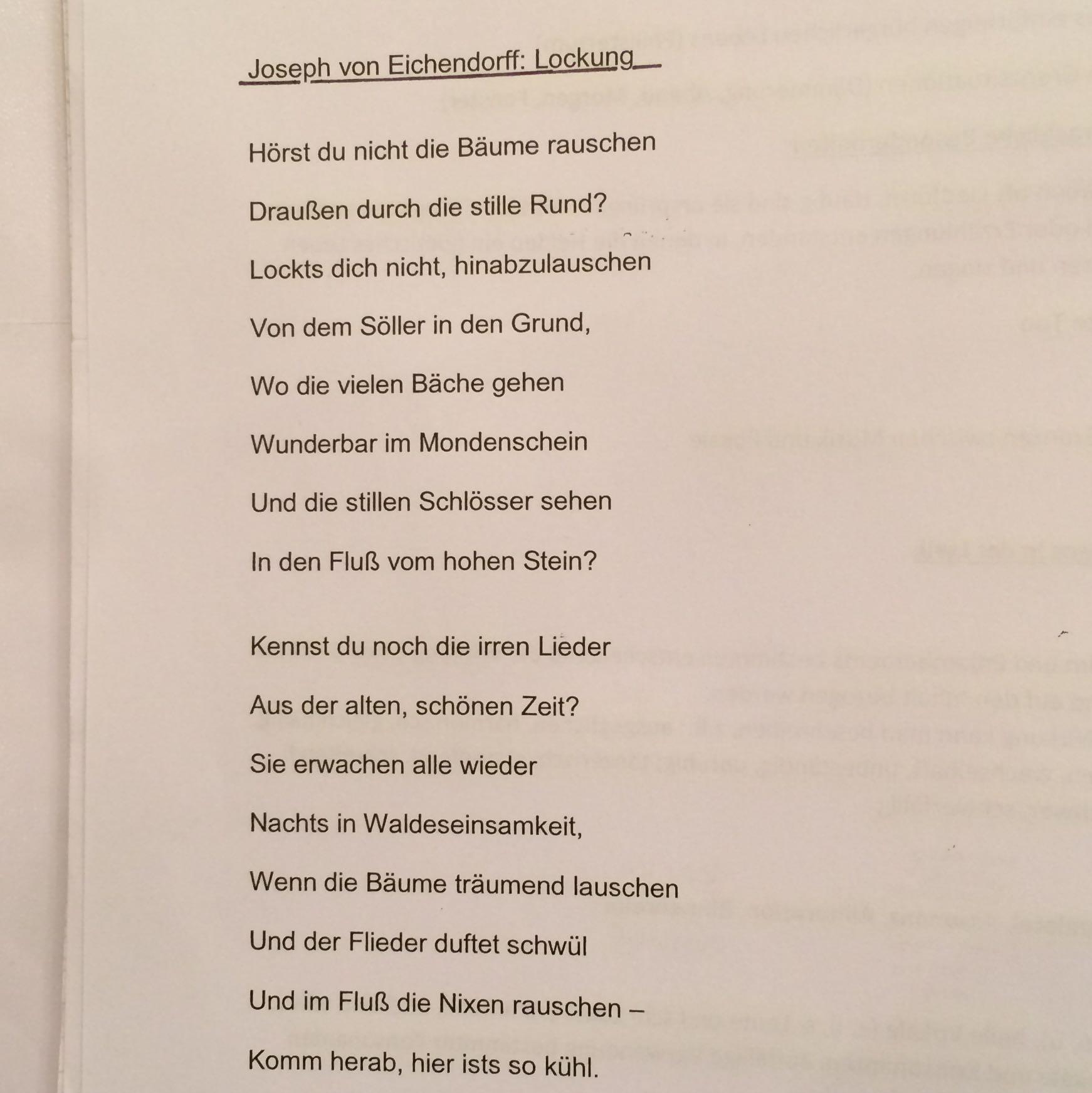Großartig Eine Zusammenfassung Des Gedichts Schreiben Fotos ...