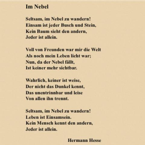 Hermann hesse gedicht allein