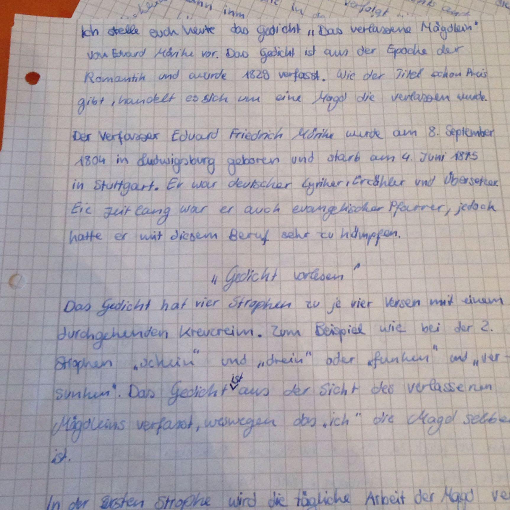 Gedichts Interpretation Passt Des Schule Mädchen Deutsch