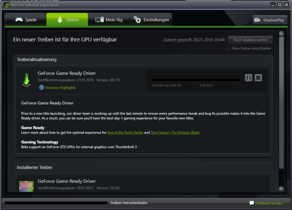 nvidia geforce experience treiber herunterladen funktioniert nicht