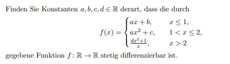WIE zeigt man dass ,gegebene Funktion f : R → R stetig differenzierbar ist.?