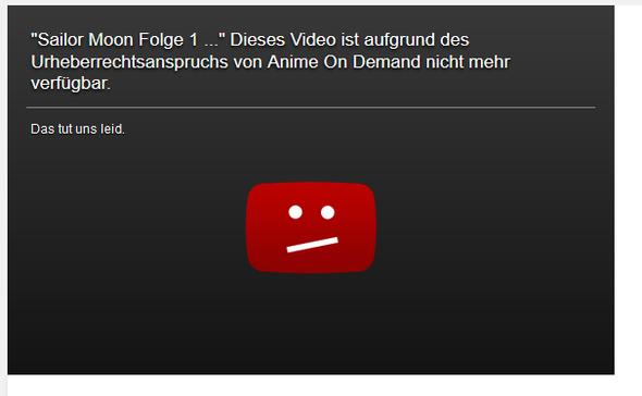 Die Meldung... - (Youtube, Anime, Urheberrecht)