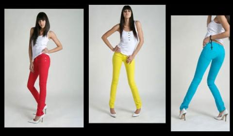 Jeans in rot, gelb und türkis - (Mode, Party, 90er)
