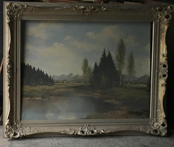 Gemälde von Kurt Moser (Altwasser auf Wendelstein)!! Das Bild ist 98cm x 80cm, weiß jemand was oder ob dieses Bild was wert ist ?