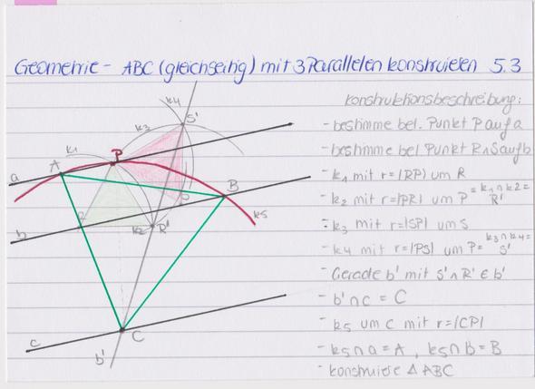 Geometrie: Gleichseitiges Dreieck auf drei Parallelen (a,b,c) erstellt - Begründung?
