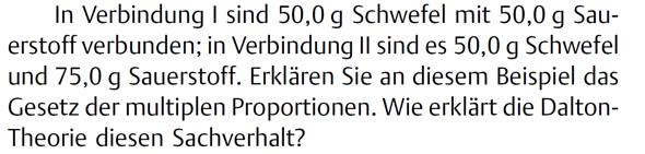 - (Chemie, Aufgabe, multiple Proportionen)