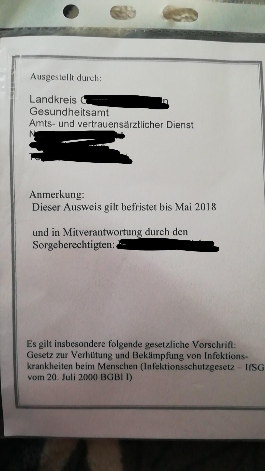 Rote Karte Gesundheitsamt Berlin.Gesundheitspass Nur Ein Jahr Gultig Gultigkeit