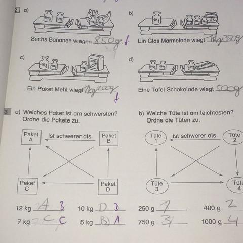 gewichte 3klasse mathe mathematik gewicht