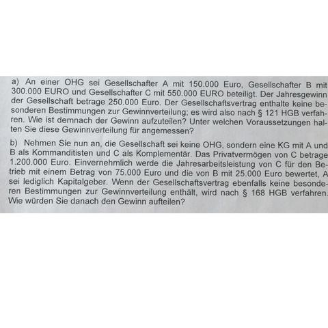 Aufgabe der Gewinnverteilung  - (BWL, kg, HGB)