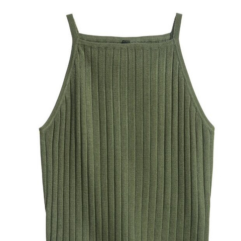 Khaki geripptes top  - (Mode, online, Kleidung)