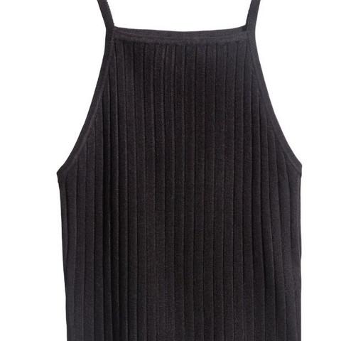 Schwarz geripptes top  - (Mode, Kleidung, online)