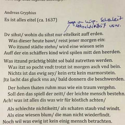 Bekannte gedichte aus dem barock