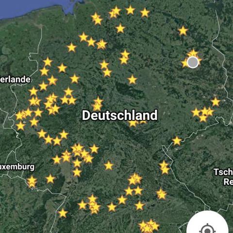 Jeder Stern ist ein Ort wo es Pfadfinder in öffentlichen Organisationen gibt  - (Deutschland, DDR, pfadfinder)