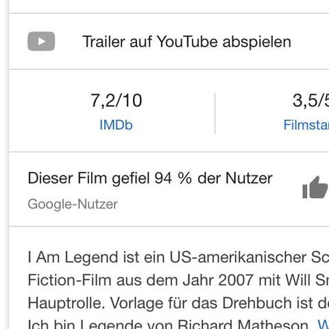 Gibt es/ Kennt ihr Filme, die bei der Google Bewertung 100% der ...