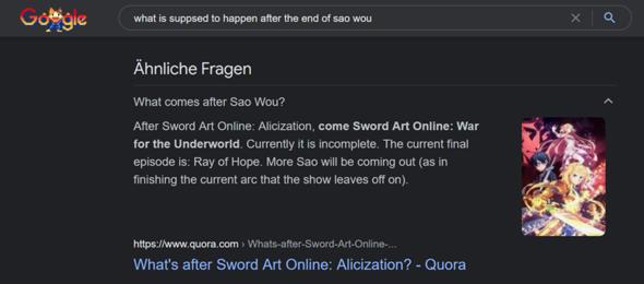 Gibt es SAO Alicization: War for the Underworld?