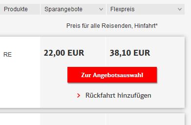 """Gilt Bahn Card 25 /50 auch für """"Sparangebote""""?"""