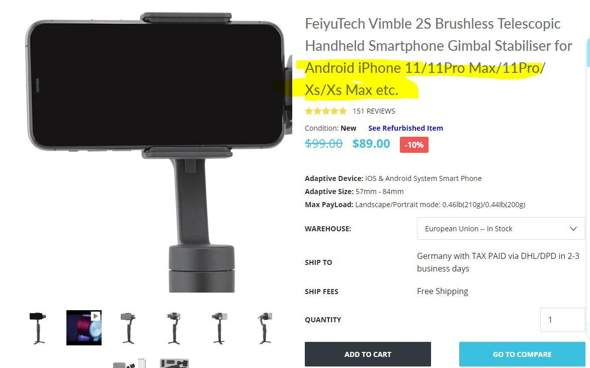 Gimbal kompatibel mit Iphone X (10)?