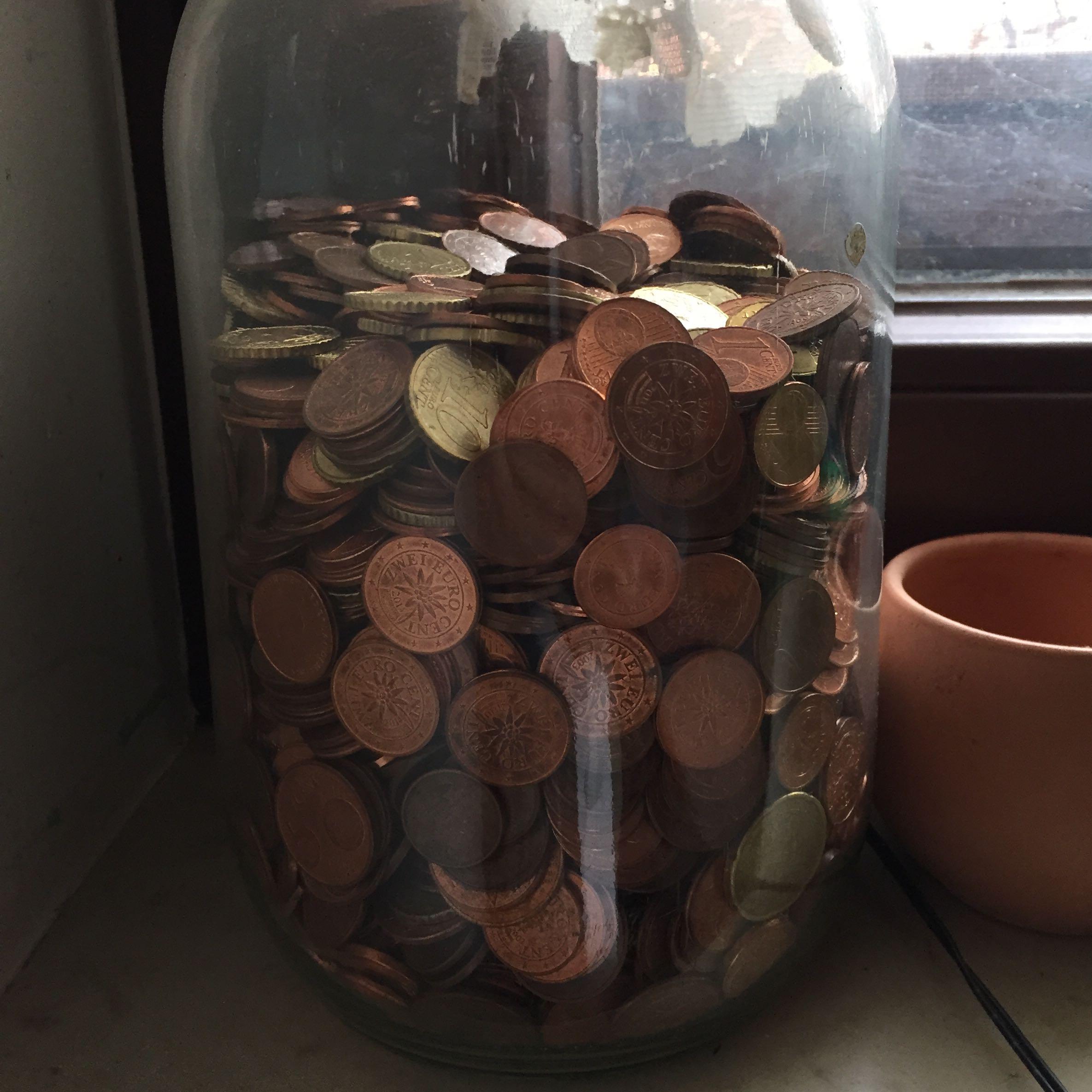 Glas Voll Münzen Umtauschen Geld Bank