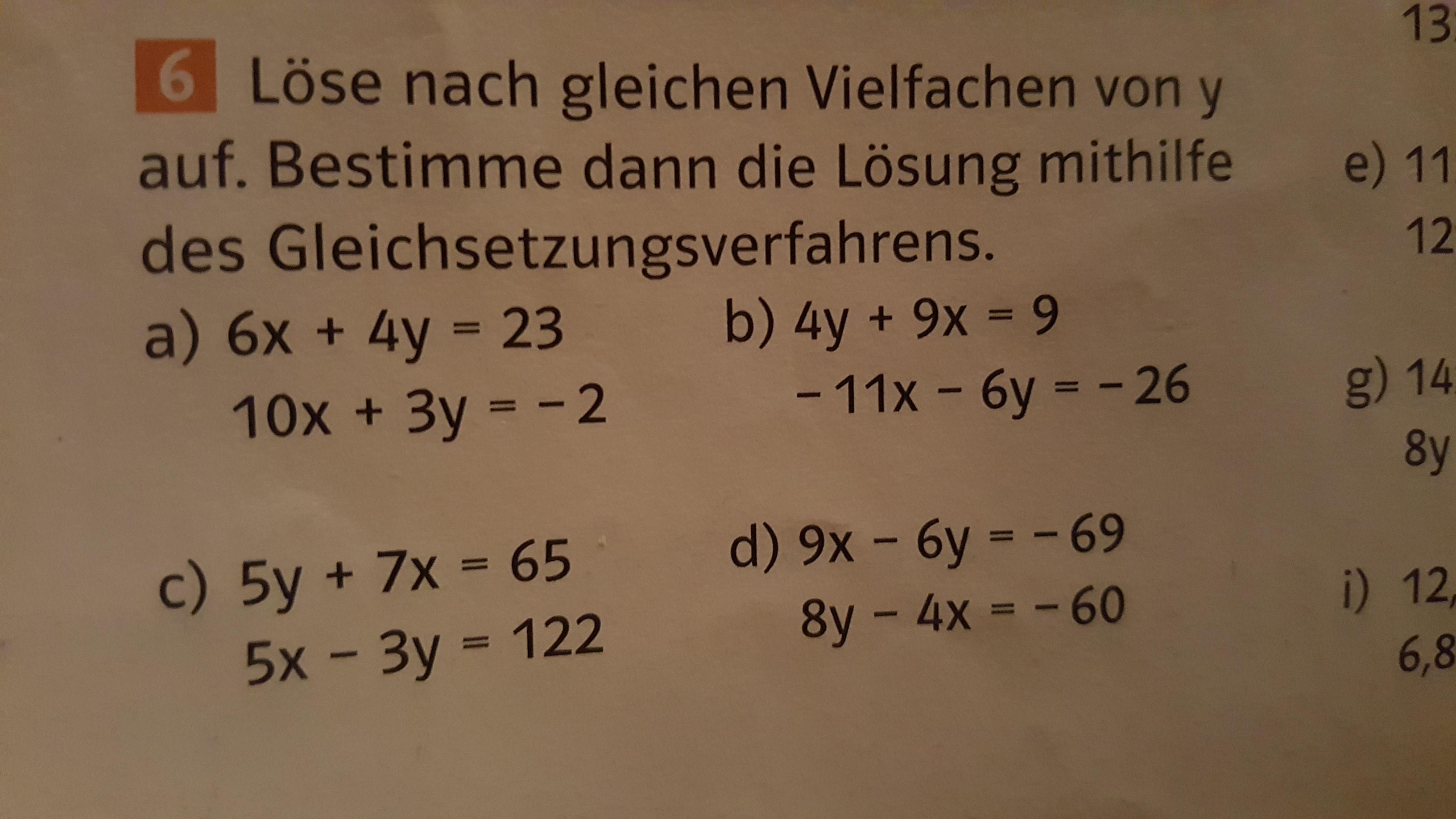 gleichsetzungsverfahren in mathe  nach einem vielfachen