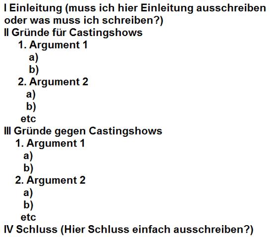 gliederung schule deutsch prfung - Erorterung Gliederung Beispiel