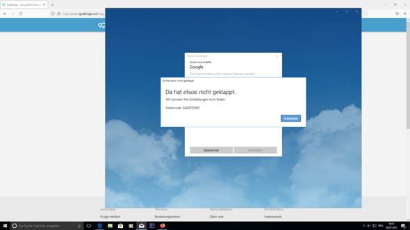 Gmail fehlercode 0x80070490?