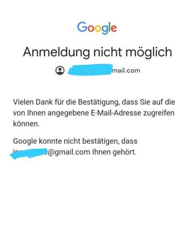 Bestätigen google ihnen dass dieses konto nicht gehört konnte Google Mail