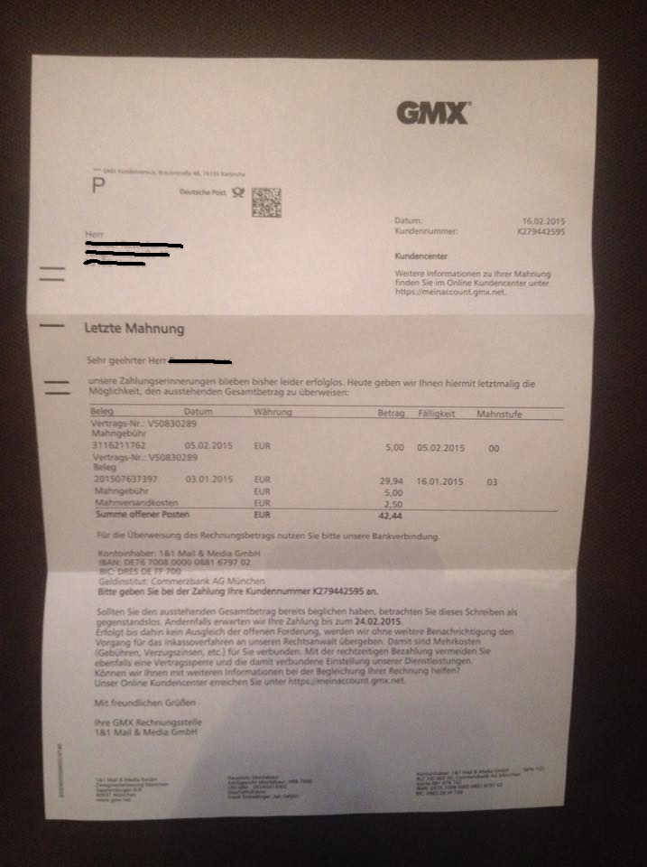 Gmx Rechnung Per Post Letzte Mahnung E Mail Betrug