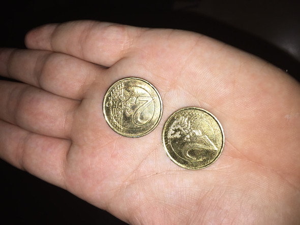 Goldene 2 Münzen Geld Euro Gold