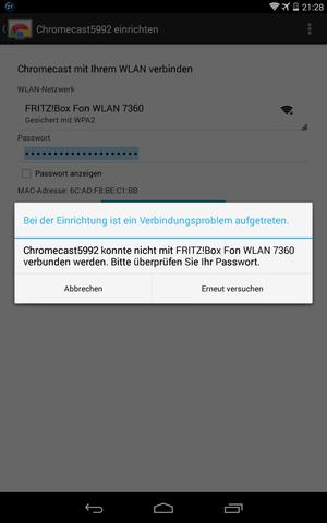 Fehler bei der Verbindung des Chromecasts mit dem WLAN  - (WLAN, Google, lan verbindung)