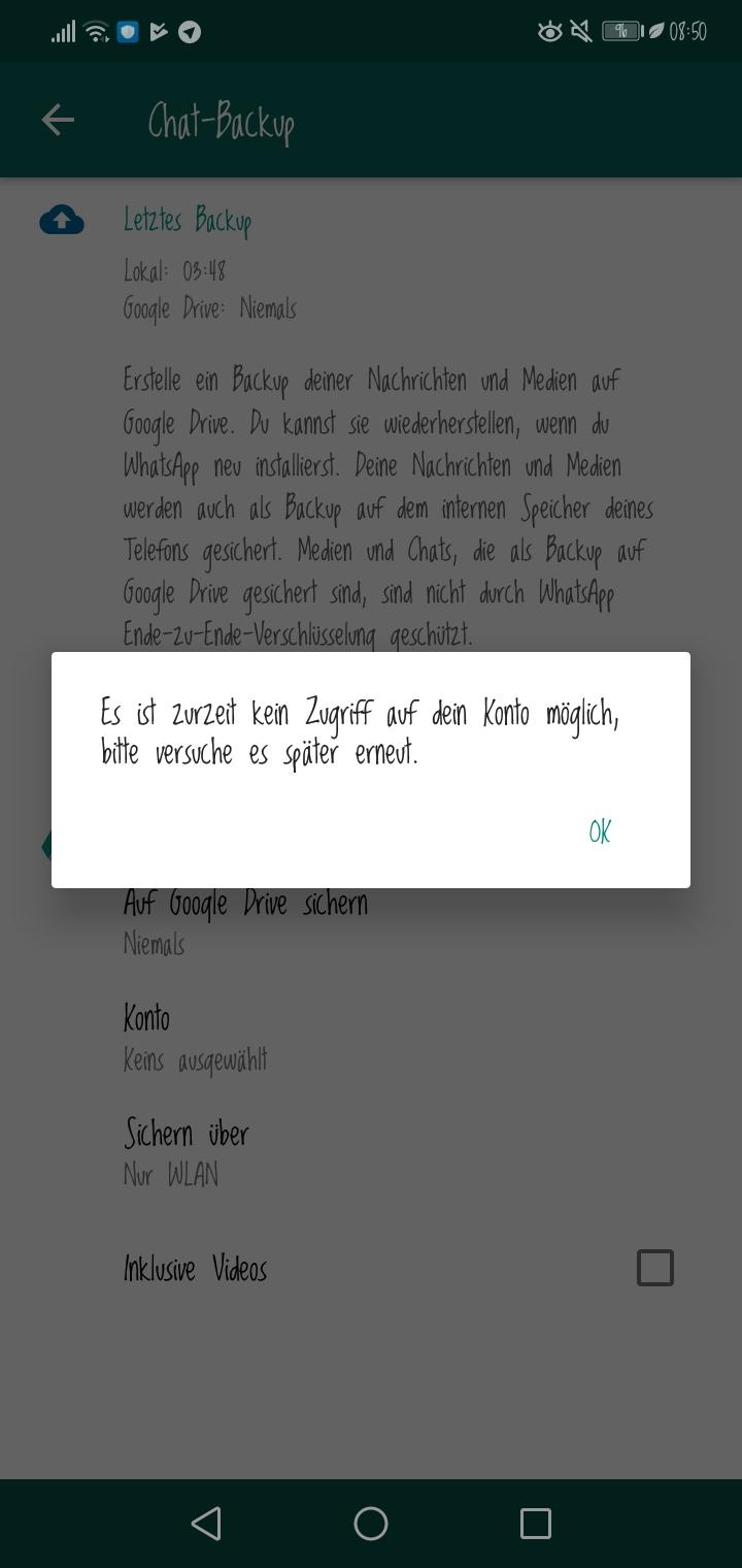 Google Drive Backup von Whatsapp funktioniert nicht