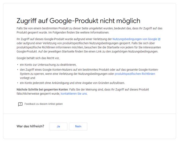 Google Konto Problem?