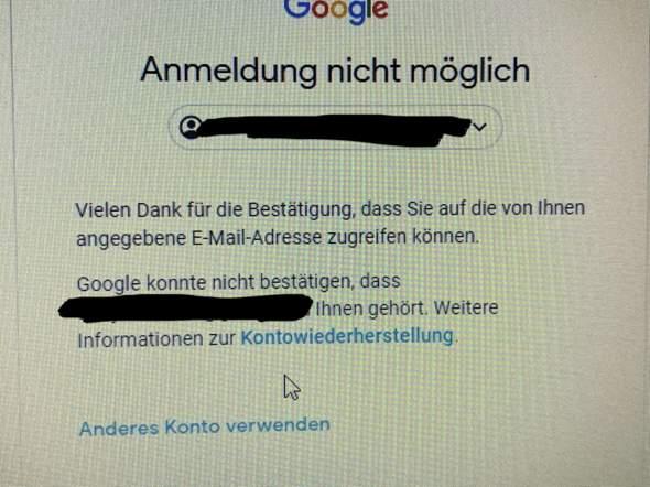 Bestätigen google ihnen dass dieses konto nicht gehört konnte google konnte