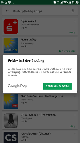 paypal zahlung abgelehnt google play