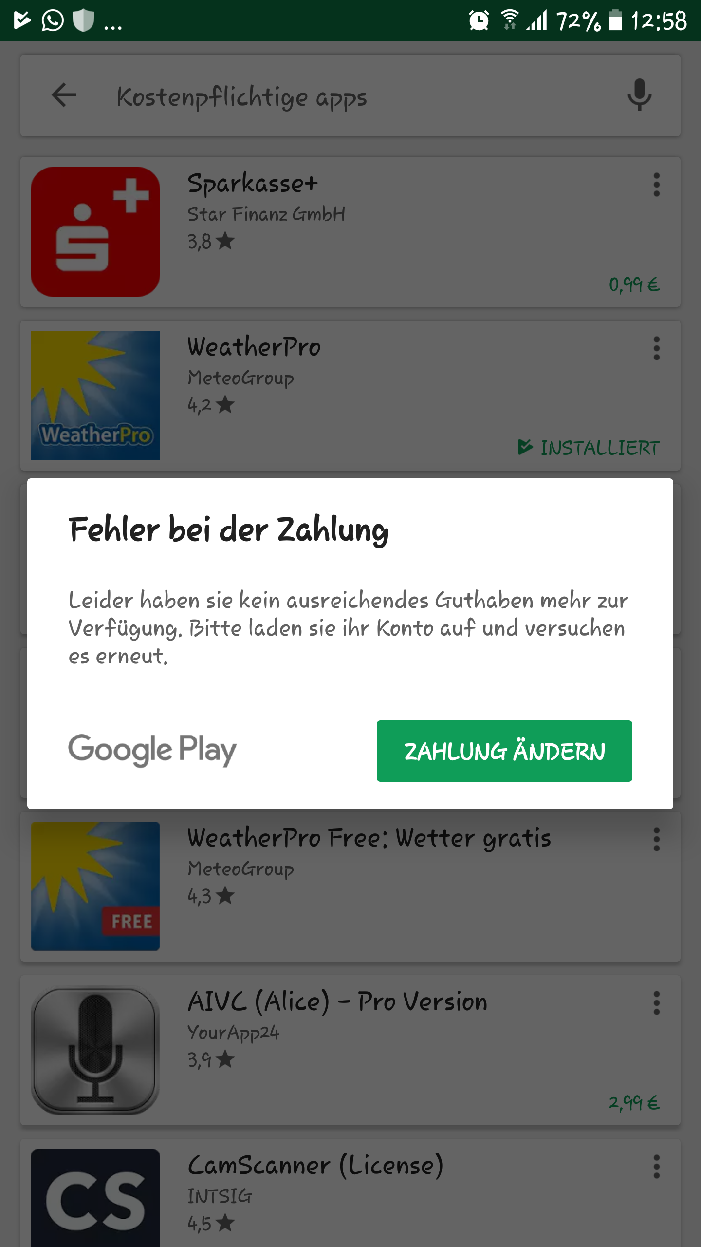 Google Play Zahlung