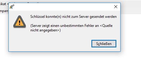 GPA fehler / ich kann keine keys senden (Schlüssel konnte(n) nicht zum Server gesendet werden)?