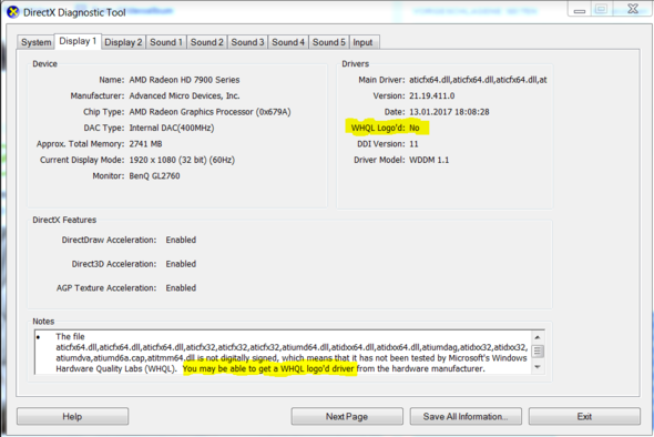 DirectX Diagnose 64bit - (PC, Grafikkarte, Windows 7)
