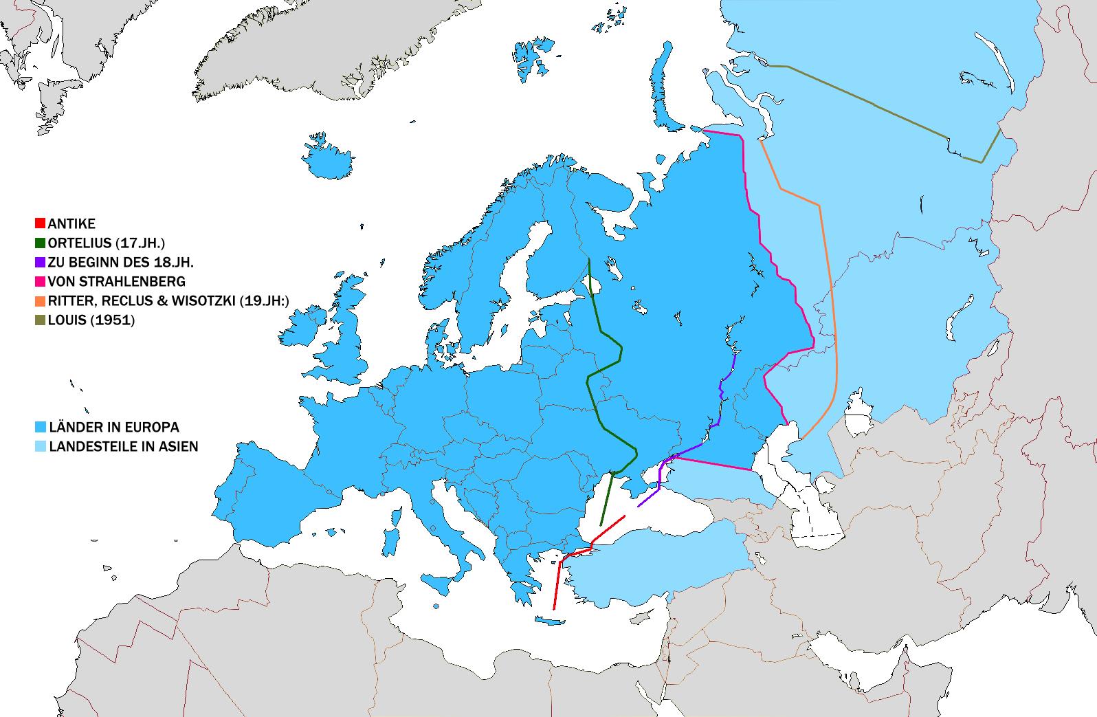 Grenze Europa - Asien! (Schule, Karten, Allgemeinwissen)
