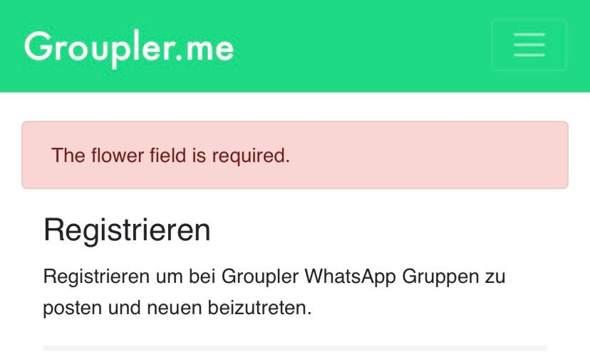 """Groupler.me registrieren geht nicht """"the flower field is required""""?"""
