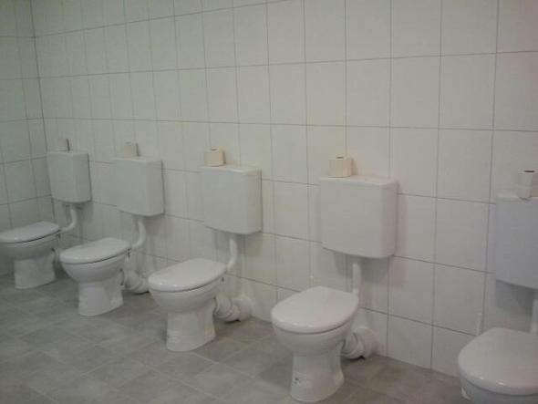 Die Gruppen-Toilette. - (Schule, Recht, Gesetz)