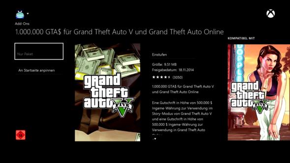 Die 1.000.000$ im Store - (Download, GTA 5, Xbox Live)