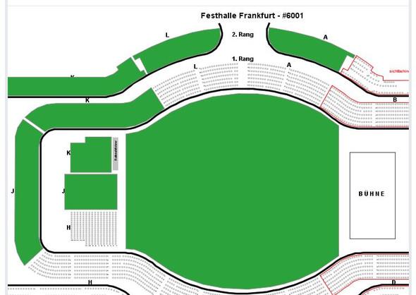 große grüne Fläche: Innenraum // J, K & H: Innenraum Block // Rest: 1. & 2. Rang - (Konzert, Ticket, Frankfurt)
