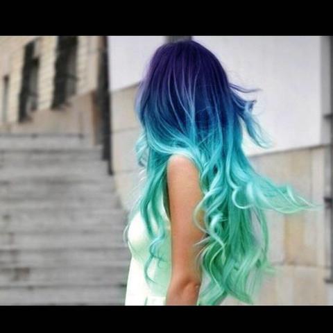 Haare Mit Directions Blau Turkis Bzw Lila Tonen Farbverlauf
