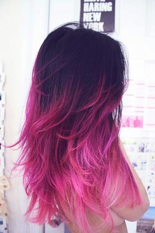 Dunkelbraune haare pink farben
