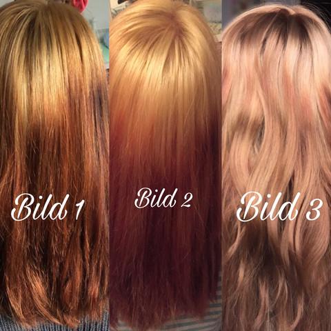 Strähnchen schwarze haare mit rote Blonde haare