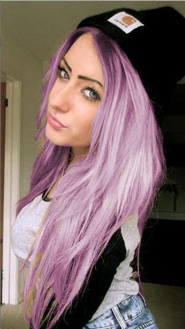 Haare Von Schwarz Auf Pastell Lila Farben