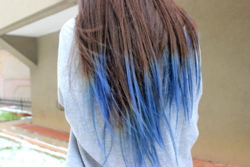 Haare ombre blau
