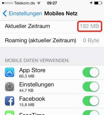 Datenvolumen Iphone 4? - (Internet, Handy, iPhone)