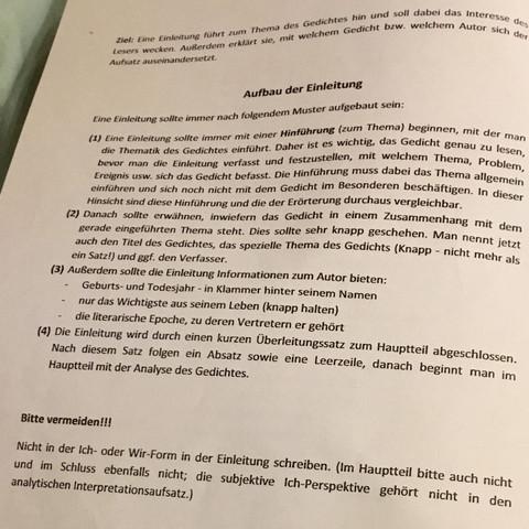 Habe Eine Frage Zur Gedichtsinterpretation Schule Deutsch